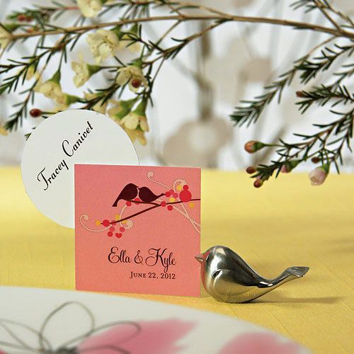 Love Bird Card Holders with Brushed Silver Finish Pack of 8