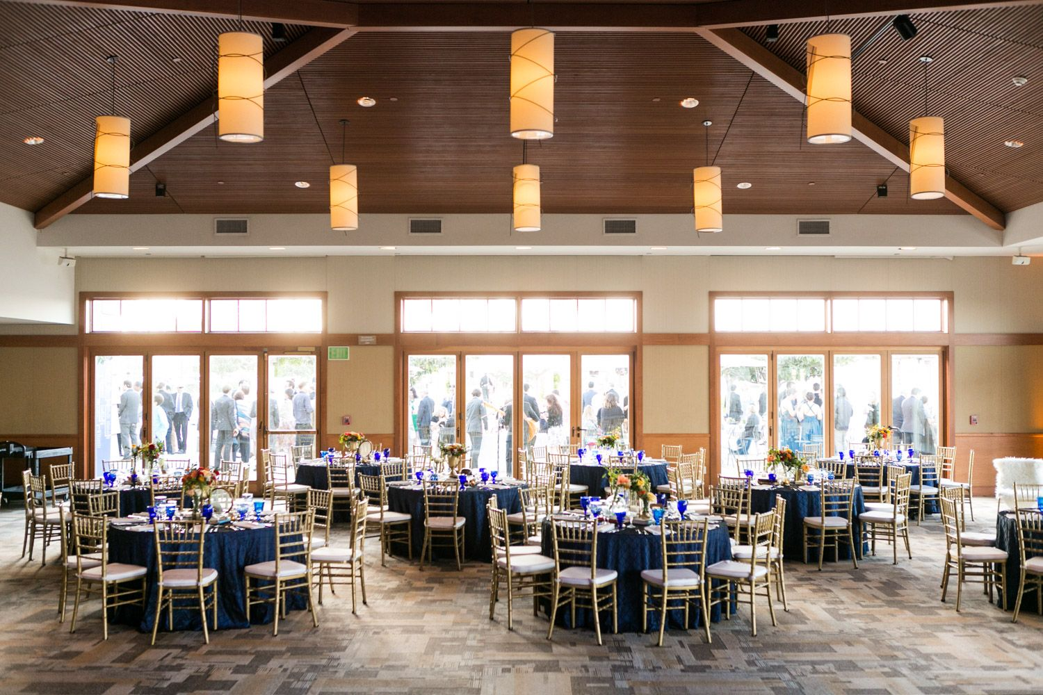 Coronado Community Center Wedding Reception By Coastyle Events Sophisticated Sports Vintage Themed Decor With Blue Red Yellow And Peach Green