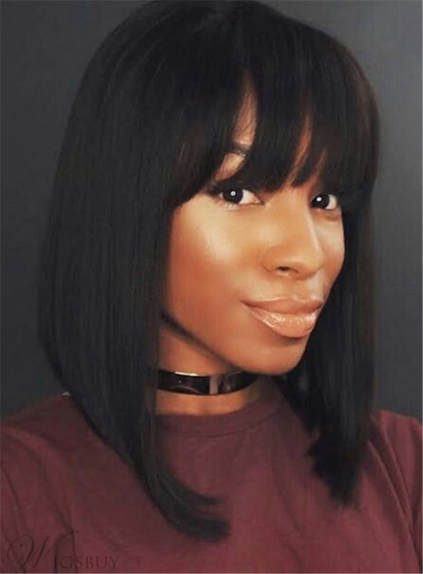 Top qualit dark brown smooth with bangs straight synthetic hair lace
