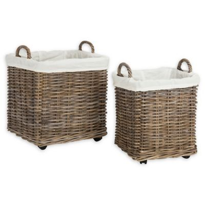 Safavieh Amari Rattan Square Baskets With Wheels In Natural Set