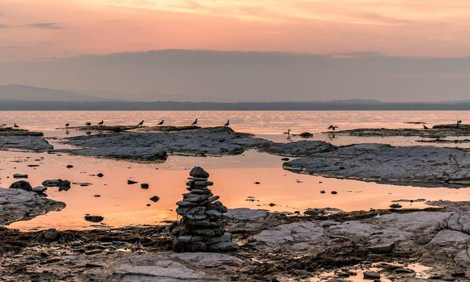 Alba..un gioco di rosa e grigio nel cielo,sui monti, nel lago e sulle rocce, gli uccelli, con una scultura mistica in primo piano. Lago di Garda.