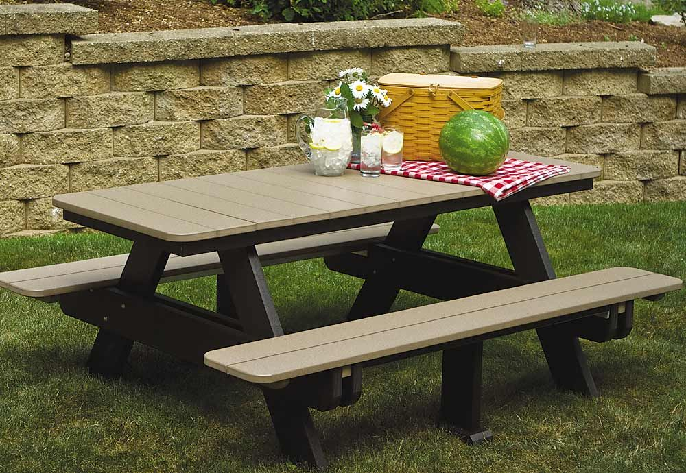 Green Lawn And Patio Furniture Comfo Back Series Green Living Picnic Table Wooden Picnic Tables Garden Picnic