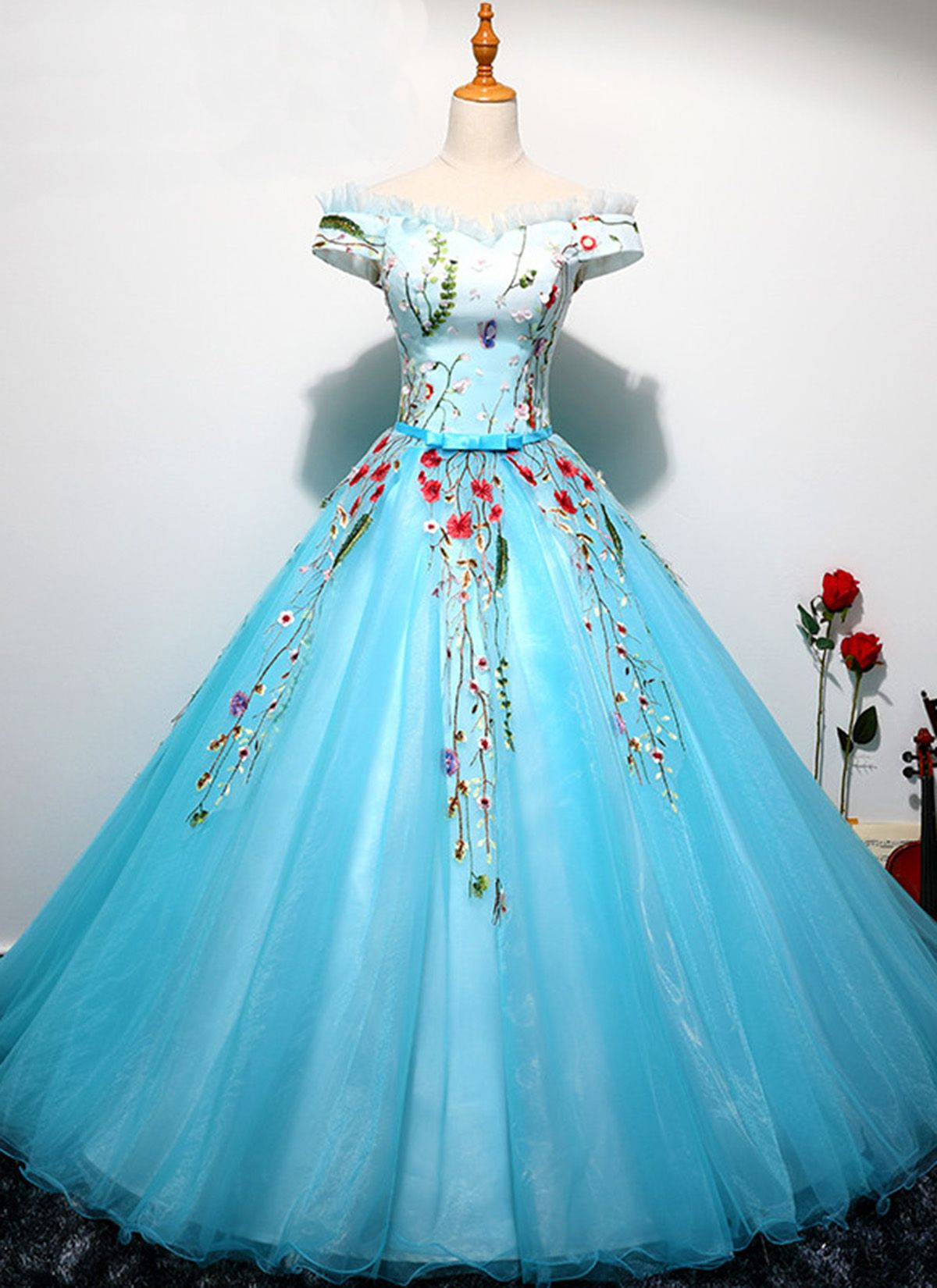 Sweetheart ice blue tulle long off shoulder ball gown, senior ...