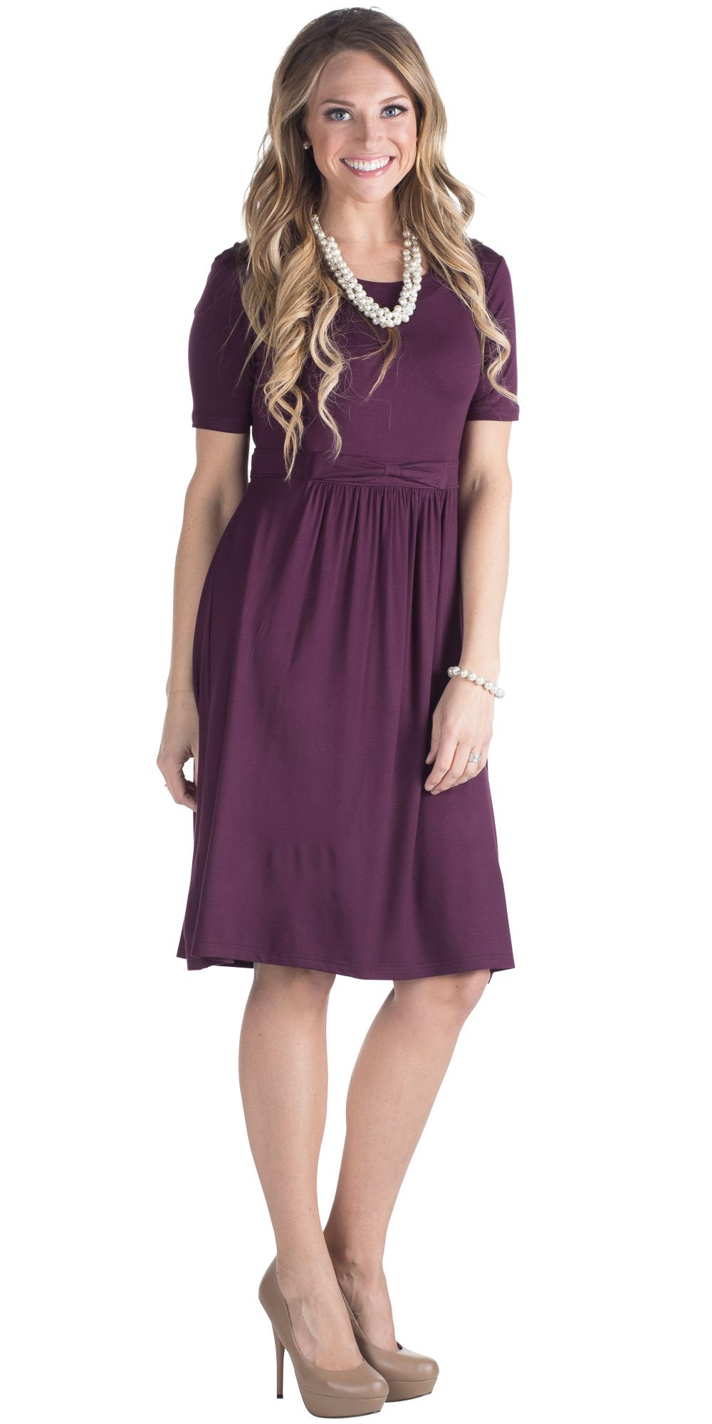 short purple dress with sleeves