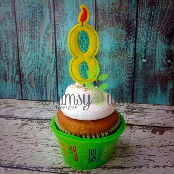 Happy Birthday Candles Cupcake Set ITH by WhimsyWillowEmb on Etsy