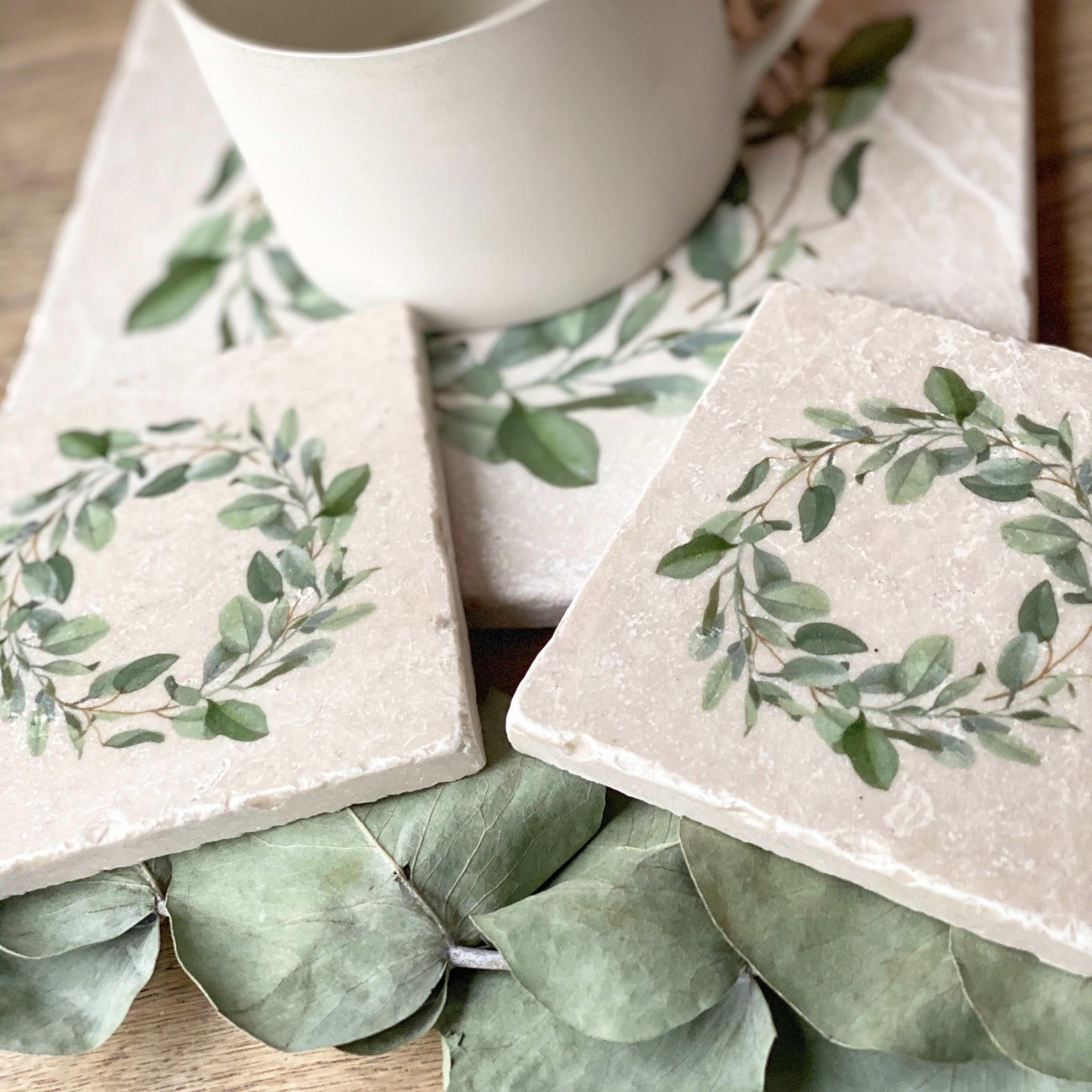Photo of EUCALYPTUS WREATH marble coasters platters tablemats