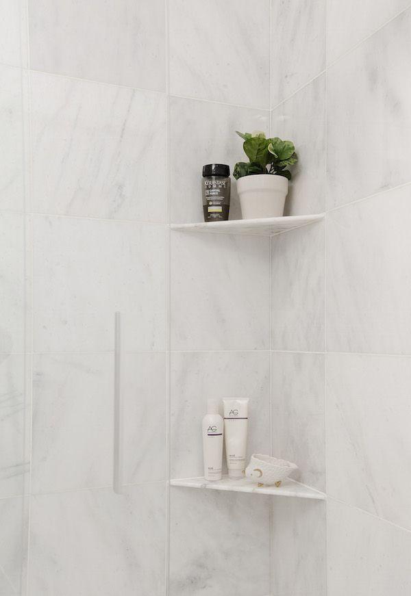 A Fresh Approach To Shower Storage Shower Shelves Shower Corner Shelf Shower Remodel