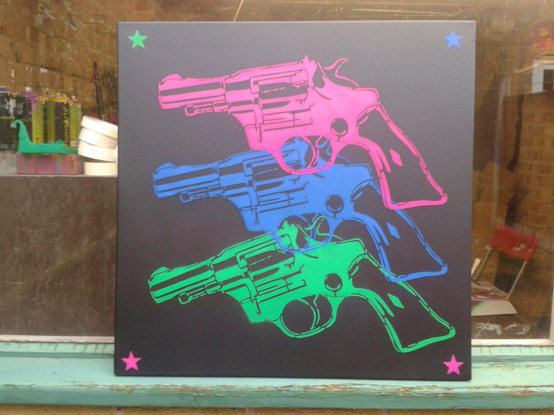 Pop guns large canvas painting pop art revolver stencil art spray