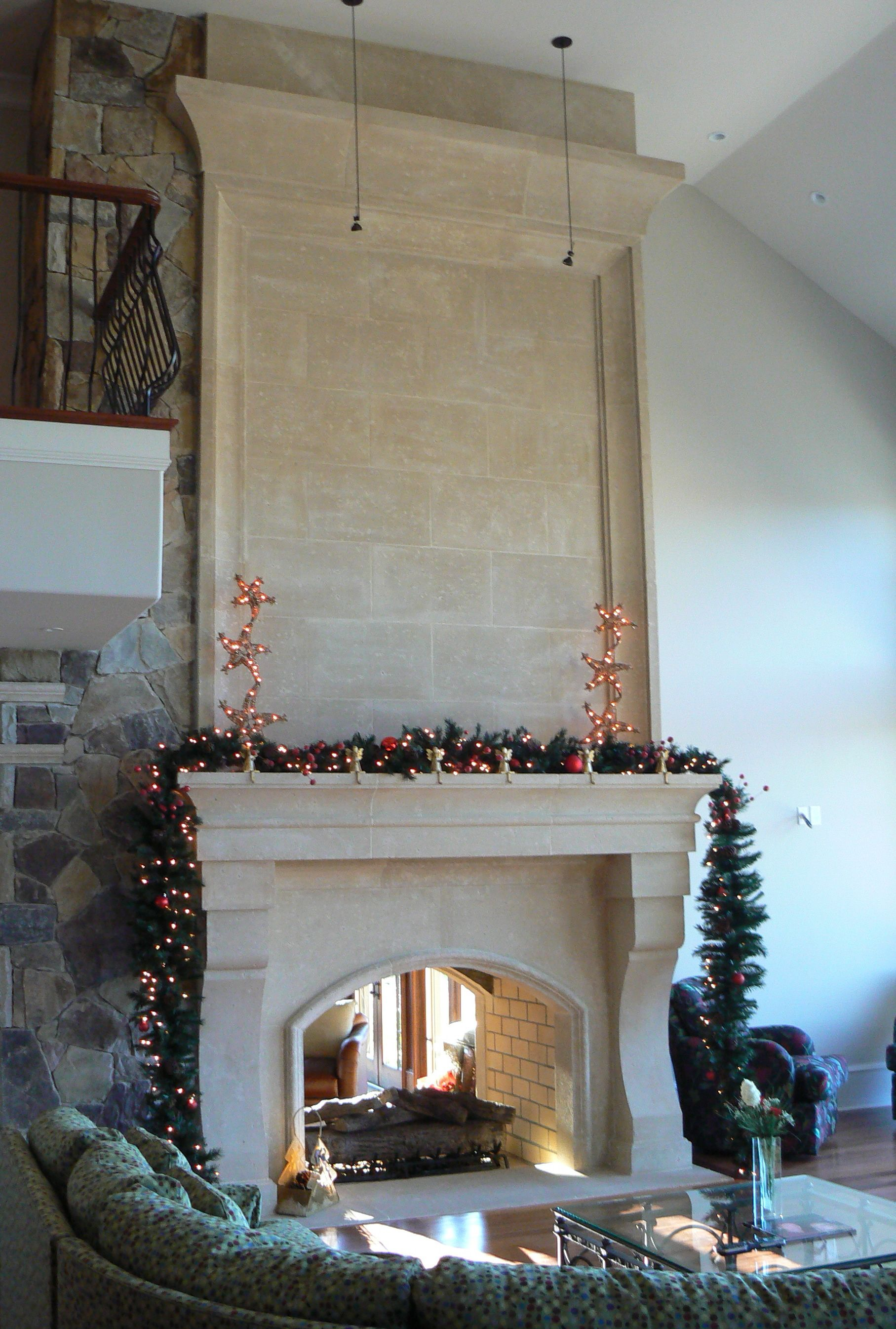 cast stone limestone fireplace by classic stone creations