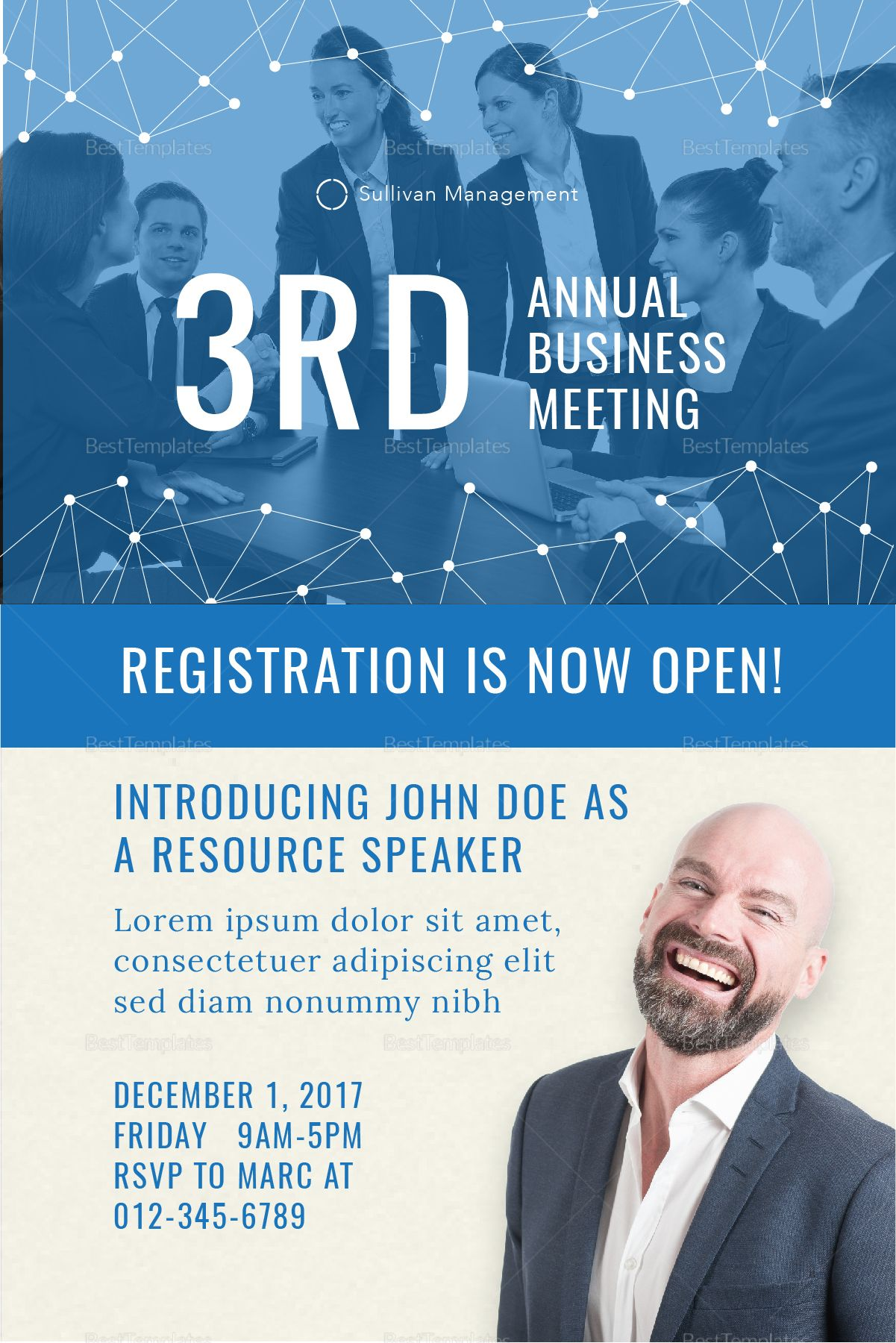 Annual Business Meeting Invitation Template Event poster