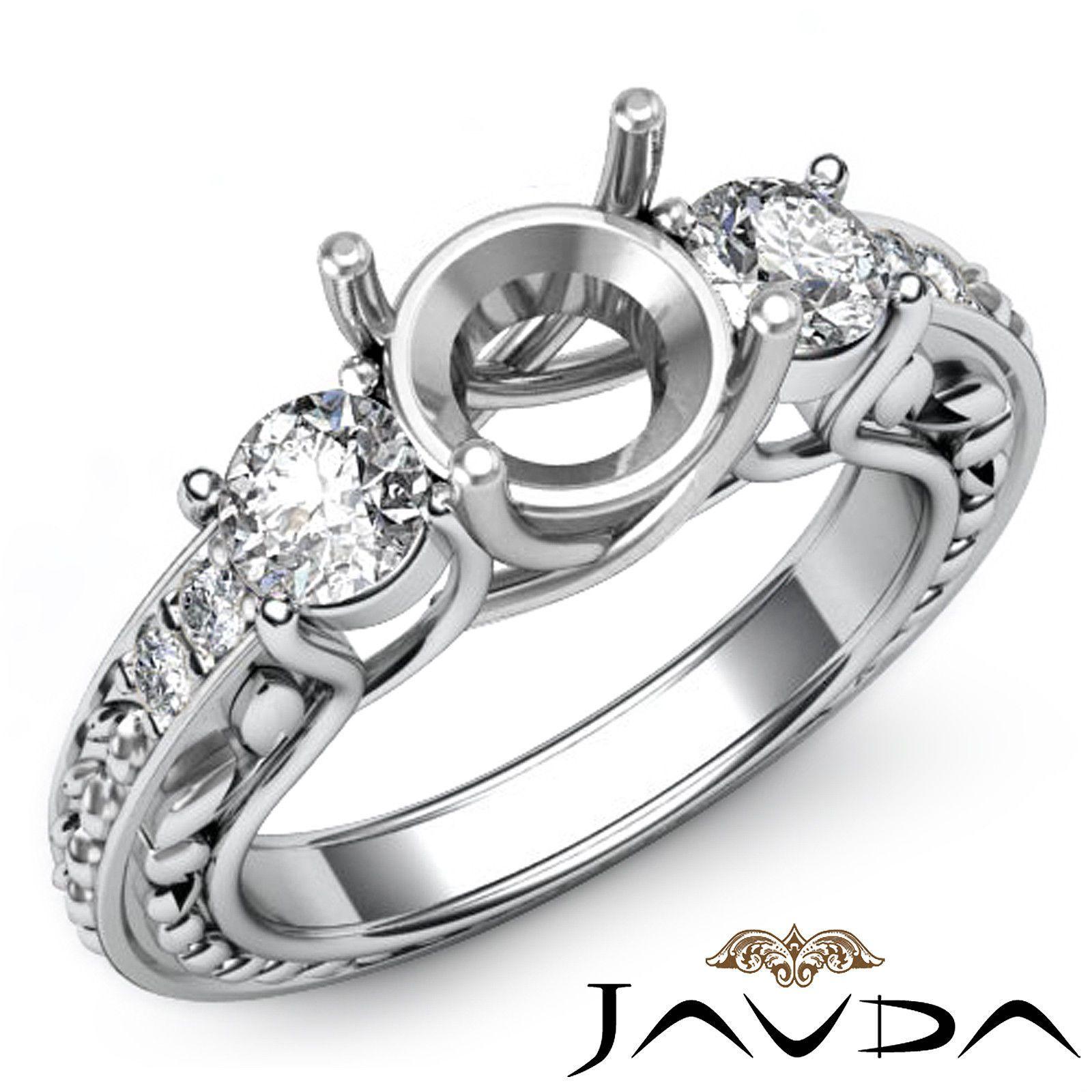Round Semi Mount Diamond 3 Stone Engagement Trellis Ring