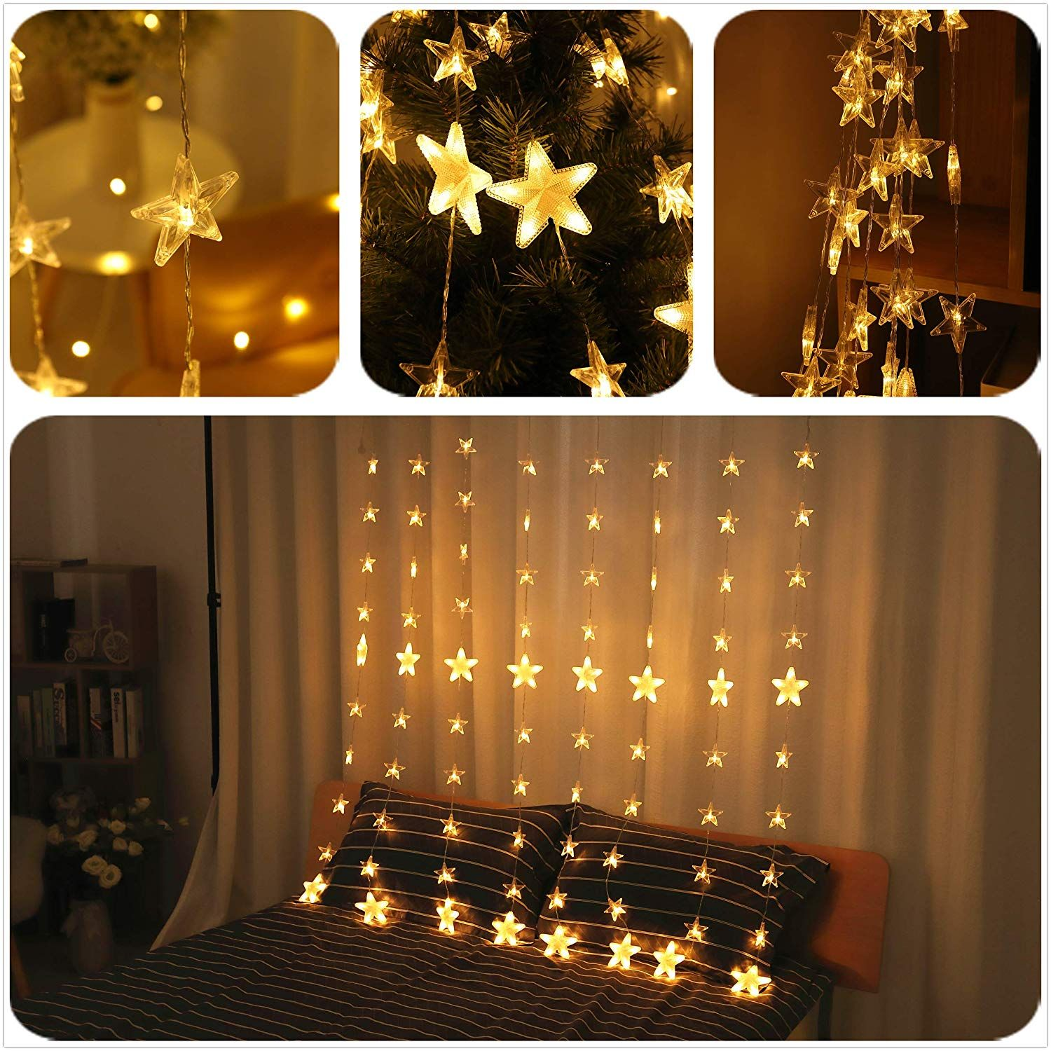 Star Lights Christmas Decor 144 Led 80 Star Curtain Lights Bedroom