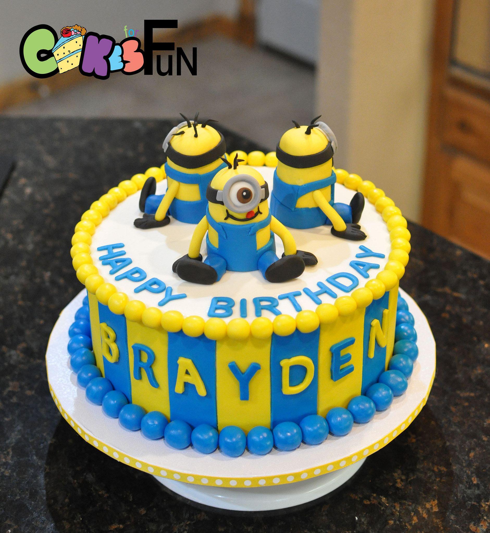 Awe Inspiring Minion Birthday Cake Minion Birthday Cake Birthday Cake Kids Funny Birthday Cards Online Unhofree Goldxyz