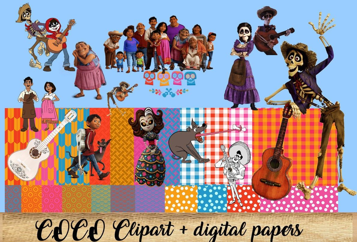 Coco Clipart With Digital Papers Printable Disney Coco Png Clipart Digital Instant Download Scrapbook Digital Disney Digital Paper Digital Sticker Clip Art