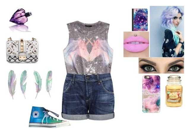 """Pastel life"" by jordanbond55 ❤ liked on Polyvore featuring Forever 21, Citizens of Humanity, Yankee Candle, Casetify, Converse, Valentino and Diesel"