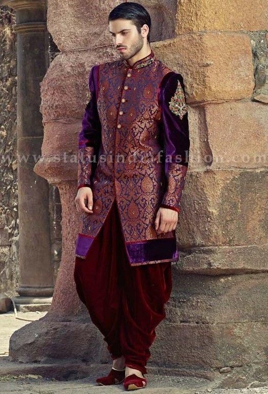 mens wear groom wedding dress groom sherwani designer indo western bright color