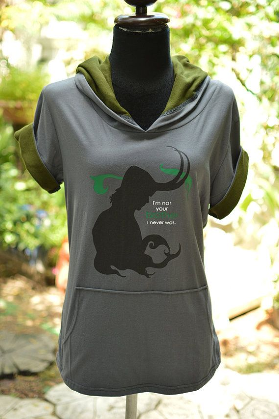 Loki hoodie : grey and olive green Hoodie with I'm not your brother I never was Sweatshirt short sleeve