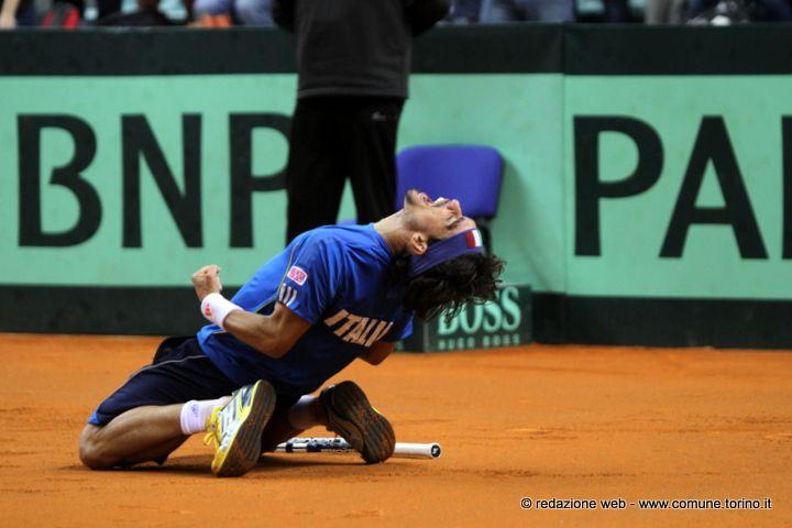 L'esultanza di Fabio Fognini. Coppa Davis #Torino
