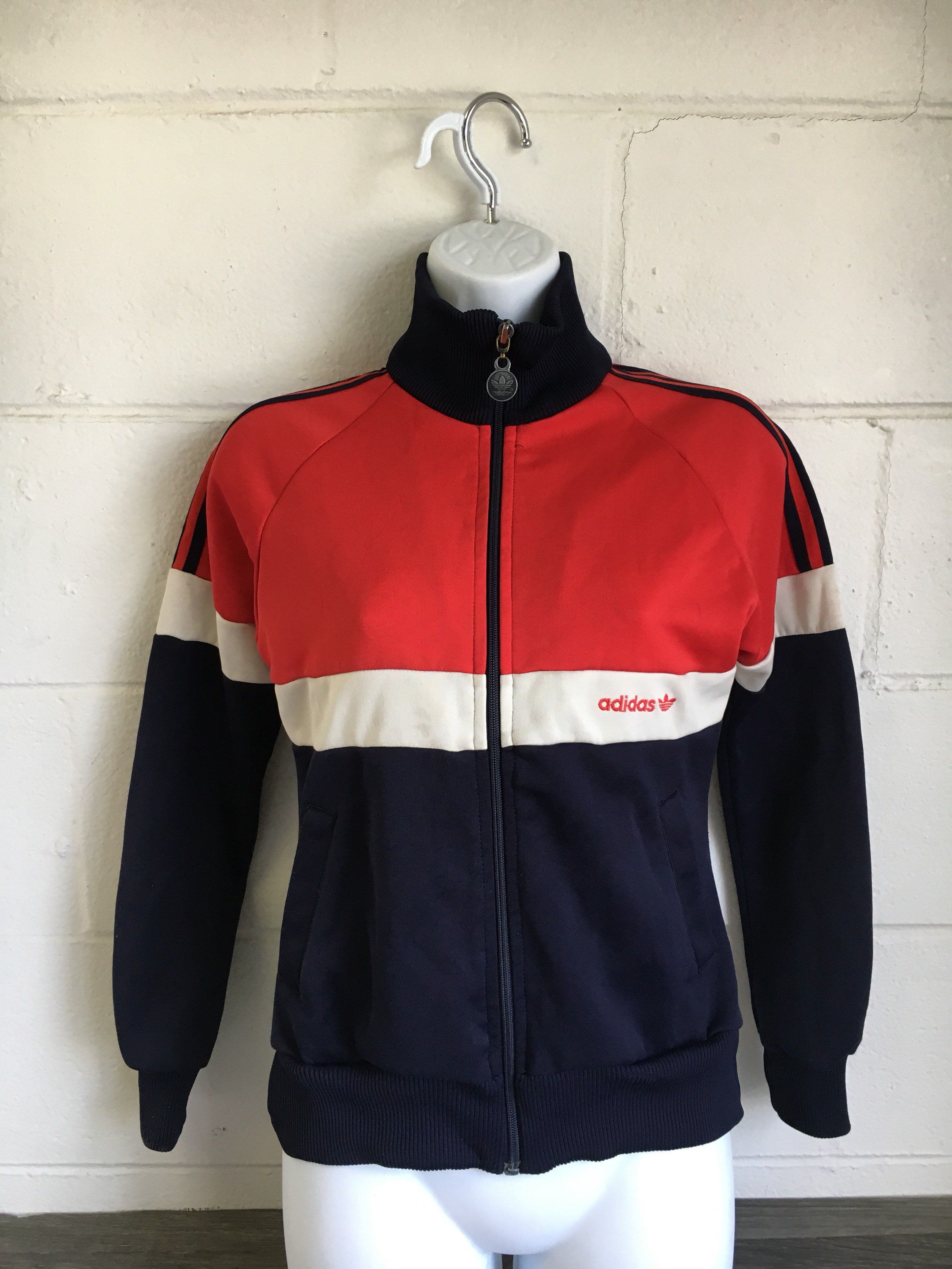Adidas Track Jacket Mens Size L Red White Blue Football Vintage FC Bayern | eBay