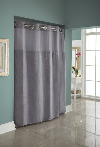 Hookless Fabric Diamond Pique Shower Curtain With Snap In Liner Frost Grey