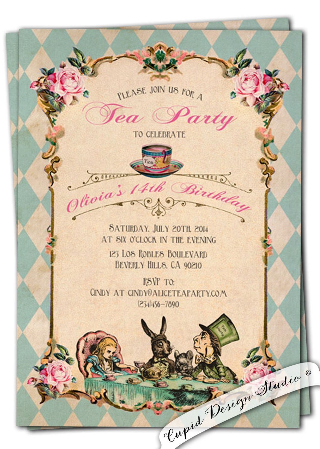 Alice in Wonderland invitations, printable or printed. Unique ...