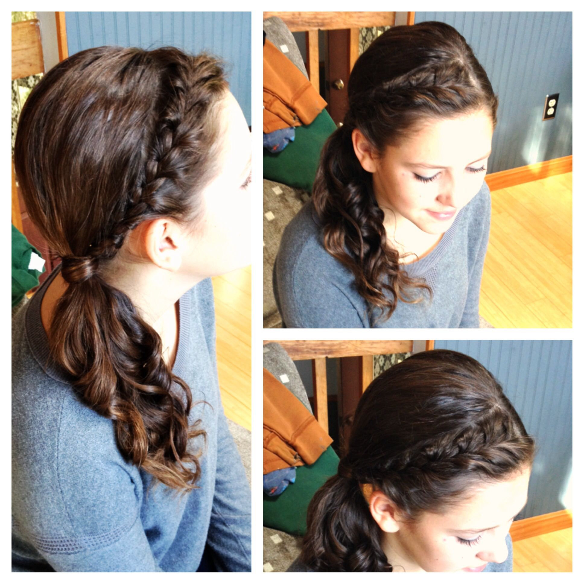 Headband french braid into a side ponytail with curls bridesmaid
