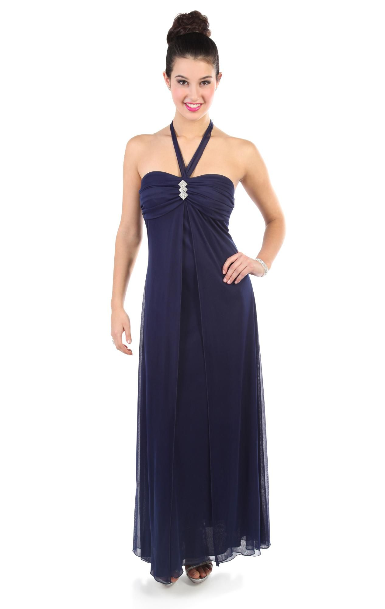 Sweetheart tie halter long prom dress with fly away skirt special