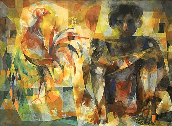 Vicente Manansala - Man with Rooster, 1963, Watercolor | Artistas