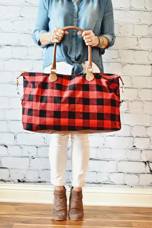 Red//Black Plaid Black//White Plaid Buffalo Plaid Weekender Bag
