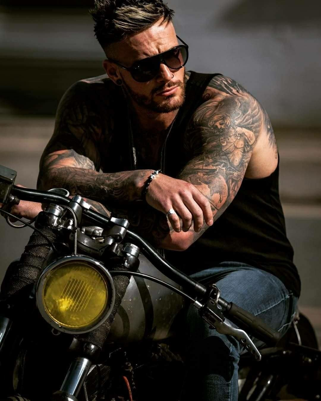 Mens Tattoos Beards and Motorcycles Biker Long sleeve T Shirt top