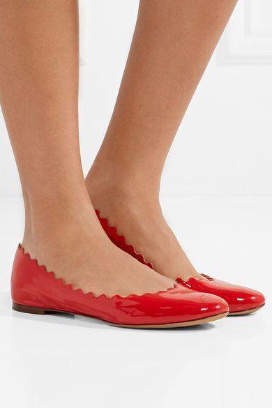 9df565895b8 Chloé - Lauren Scalloped Patent-leather Ballet Flats - Red