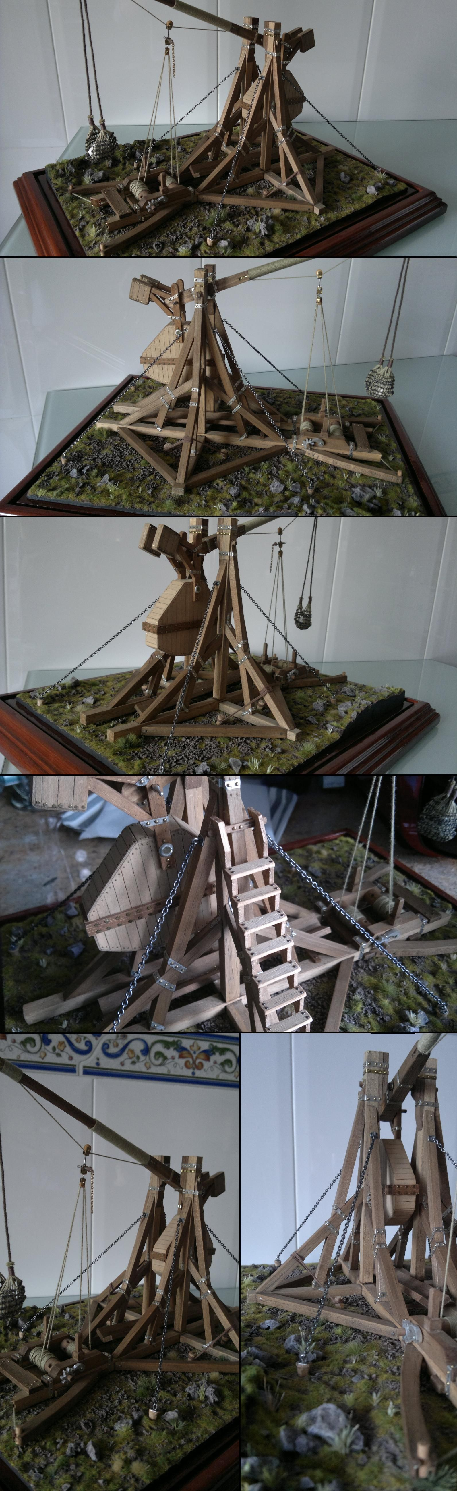 ANCIENT TREBUCHET.  Scale replica.  Works too!!!
