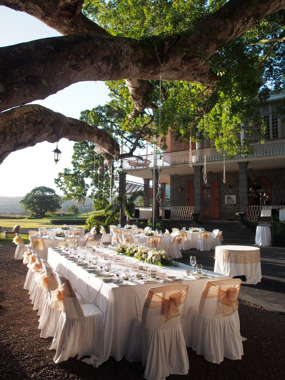 Wedding reception in the gardens of Le Chateau de Bel Ombre at