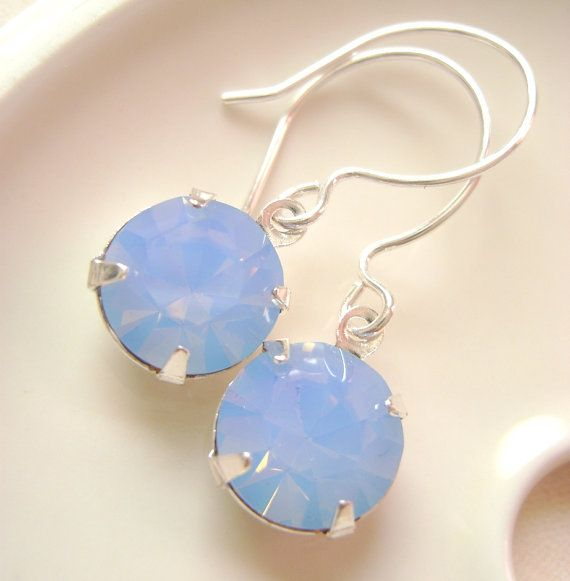 Vintage Blue Opal Swarovski stone Silver by RachellesJewelryBox, $26.00