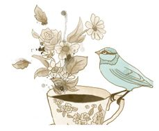 Lovely tattoo inspiration from Tabitha Emma. Teacup, flowers, bird.