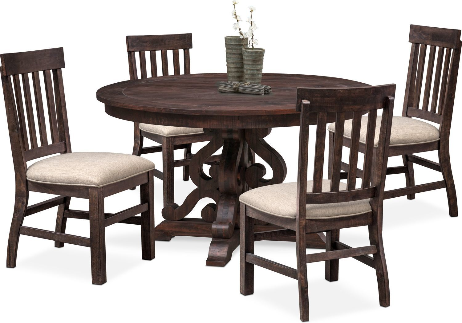 Charthouse Round Dining Table And 4 Side Chairs Dining Table
