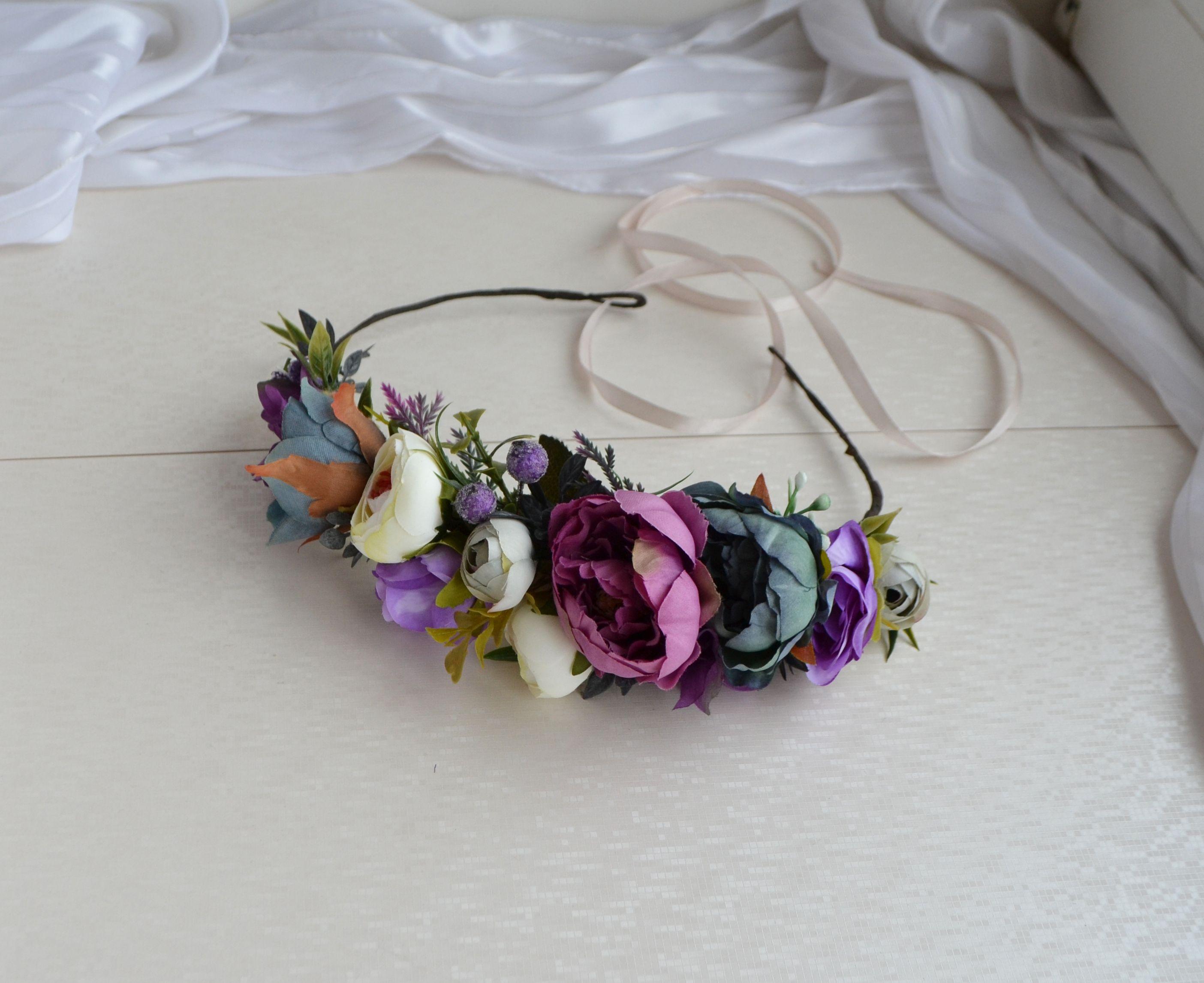 Pink Purple White Flower crown Pastel Floral crown Wedding Headpiece Rose Winter Floral crown Girl Hair piece