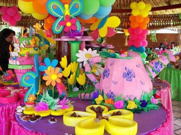 Decoraci n de flores y mariposas para fiesta infantil - Decoracion fiestas infantiles en casa ...