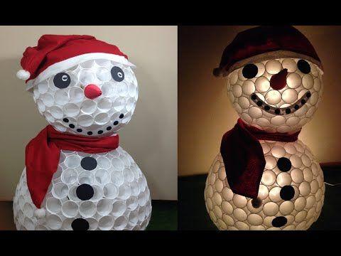 Aprende Como Hacer Muneco De Nieve Navideno Con Vasos Kerstmis