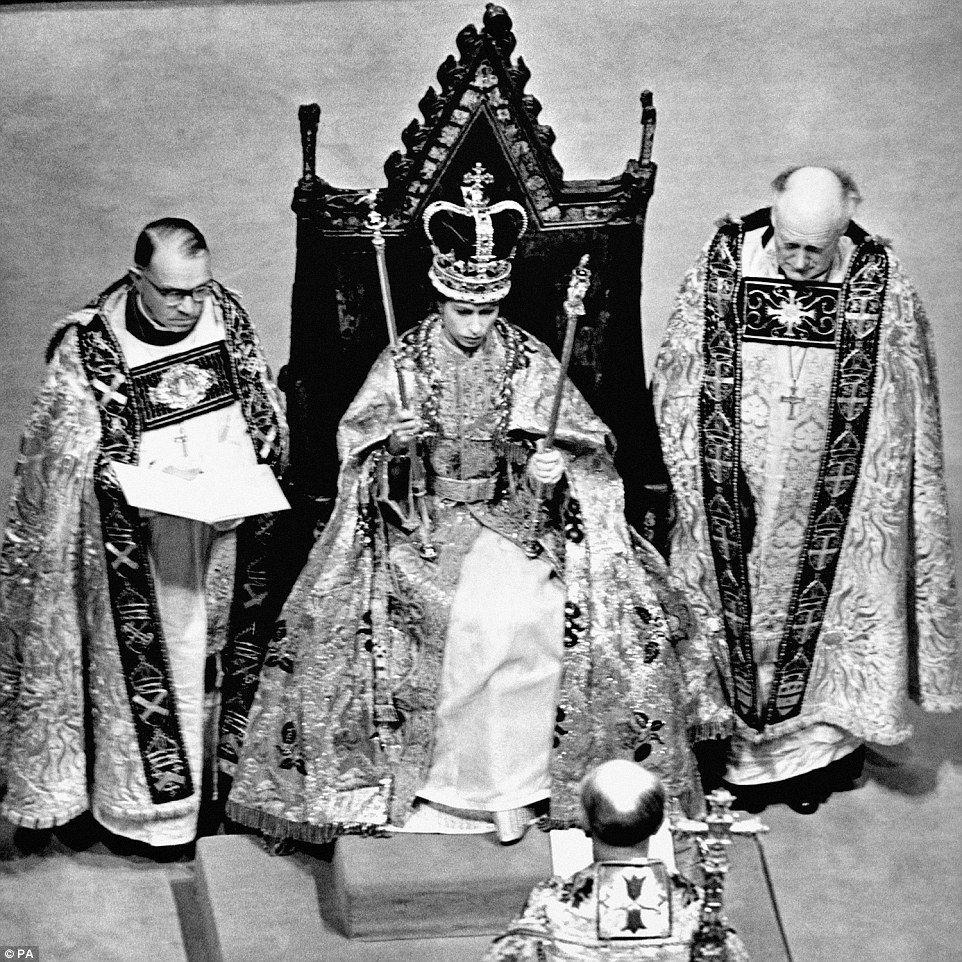 Queen's Coronation: One June 2, 1952, Queen Elizabeth II is pictured wearing the St Edward...