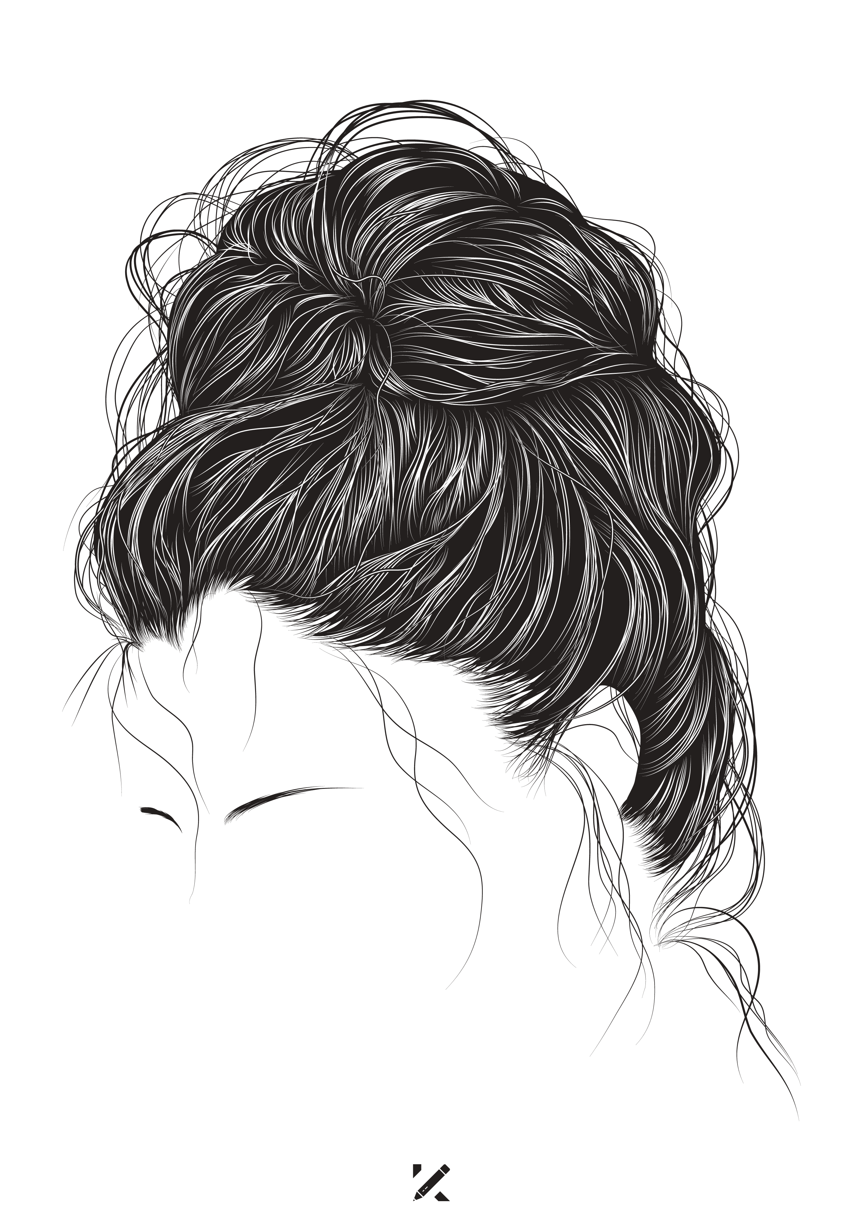 Messy Bun Outline : messy, outline, Urretabizkaia, Tattoo, Messy, Hairstyles,, Hairstyles