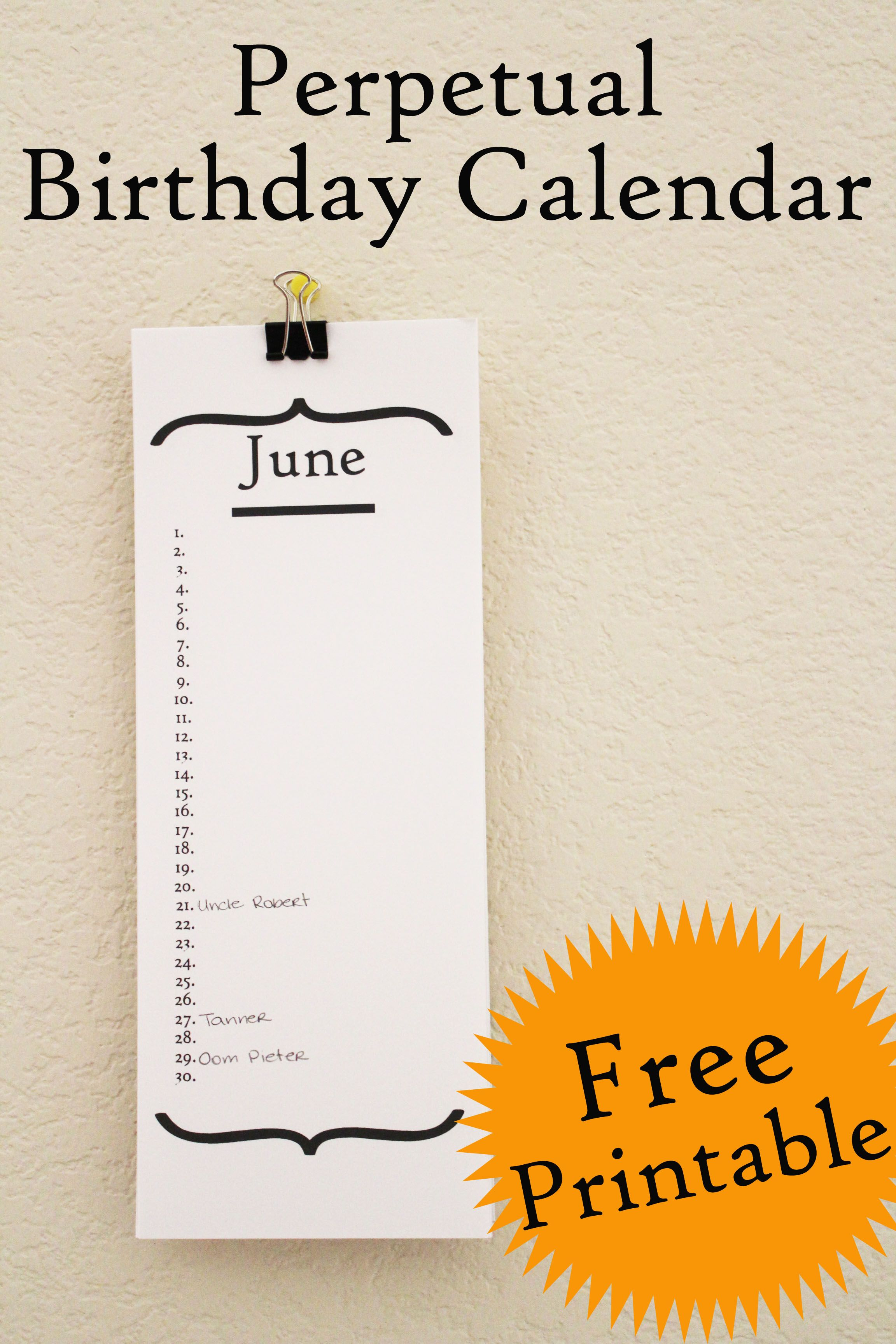 image relating to Free Printable Perpetual Birthday Calendar Template identify Absolutely free Printable Perpetual Birthday Calendar Print It