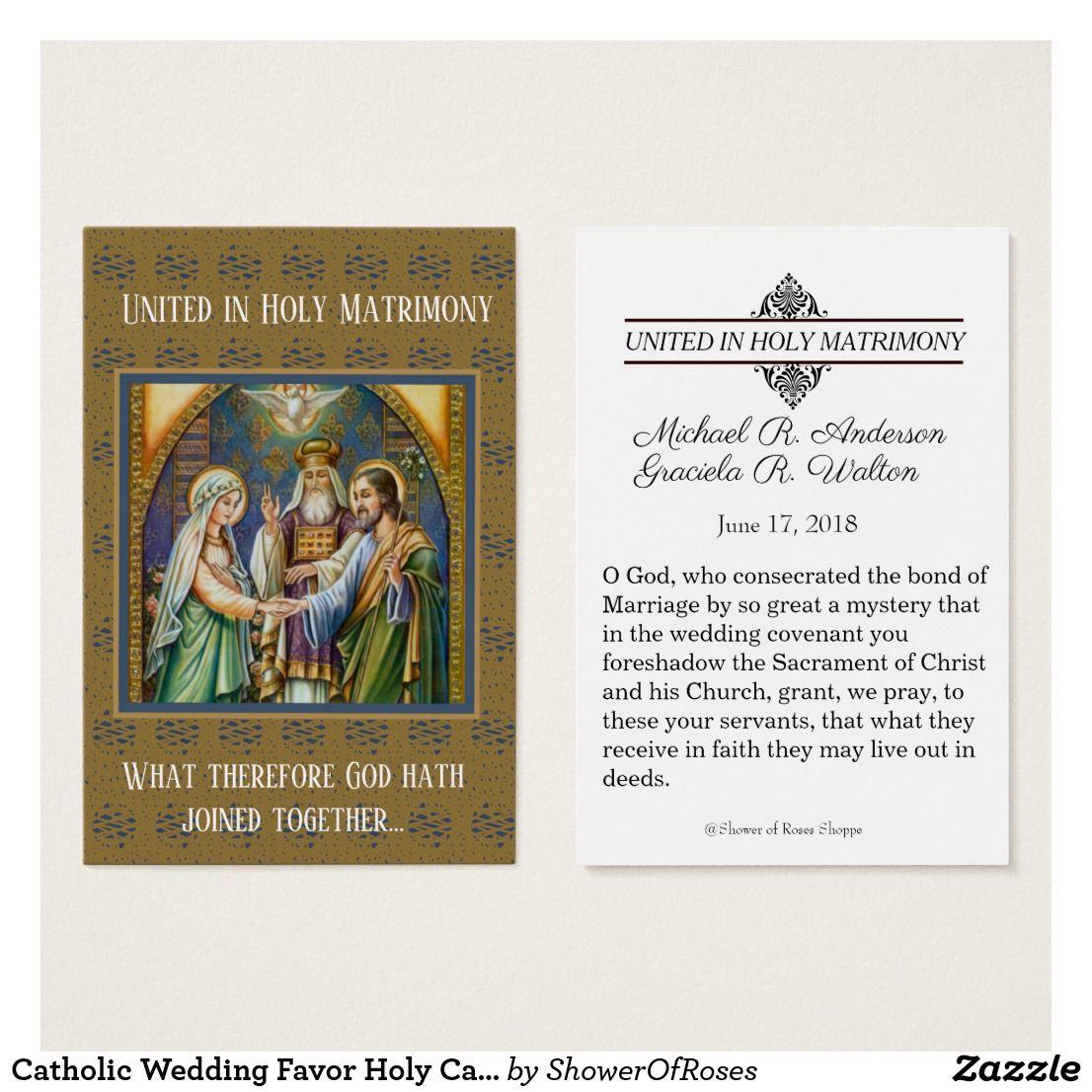 Catholic Wedding Favor Holy Card Bride Groom | Catholic wedding ...