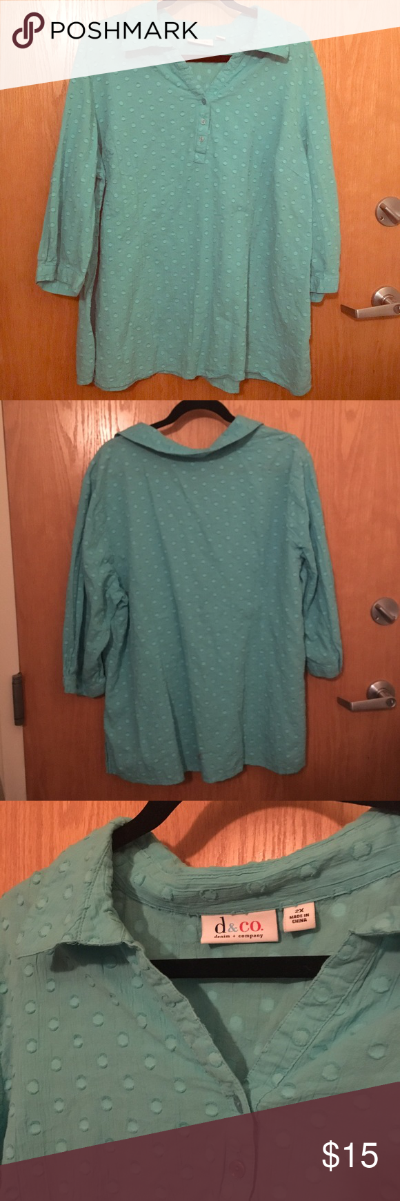 D&Co. 3/4 Sleeve Sky Blue Henley Top This is a cute cotton top with shorter sleeves. Great used condition. Let me know if you have questions. I respond to all offers. Denim & Co. Tops Tees - Long Sleeve