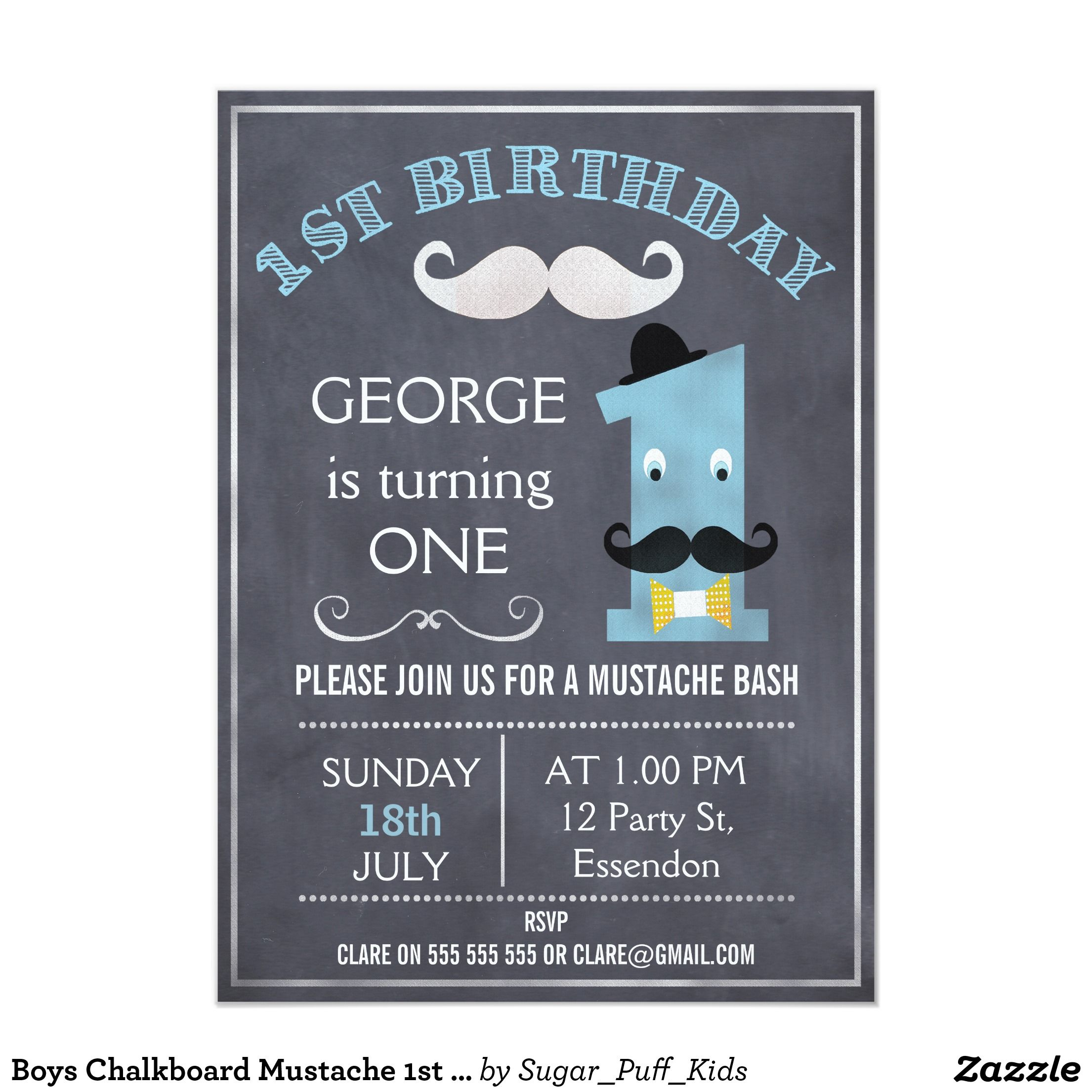 Boys Chalkboard Mustache 1st Birthday Invitation | Chalkboards ...