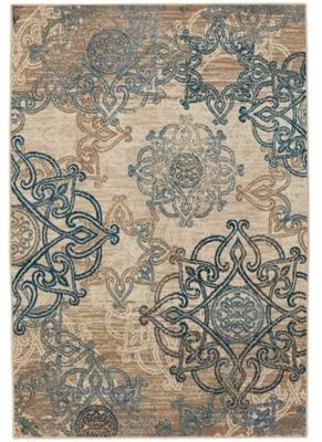 Capel Rugs Bethel Celtic 3 Foot 10 Inch X 5 Indoor Outdoor Area Rug In Blue