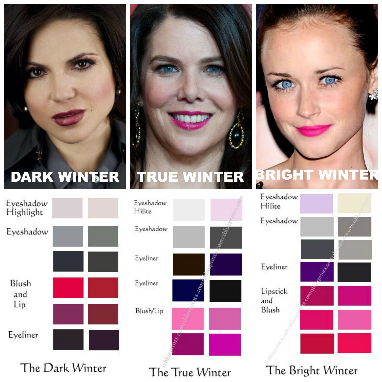 winter makeup comparisons dark winter true winter bright winter