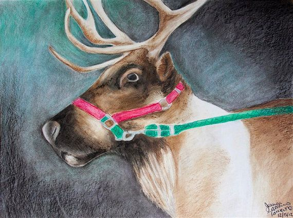 Handsome the Reindeer 11x14 Oil Pastel Print on Etsy, $26.00