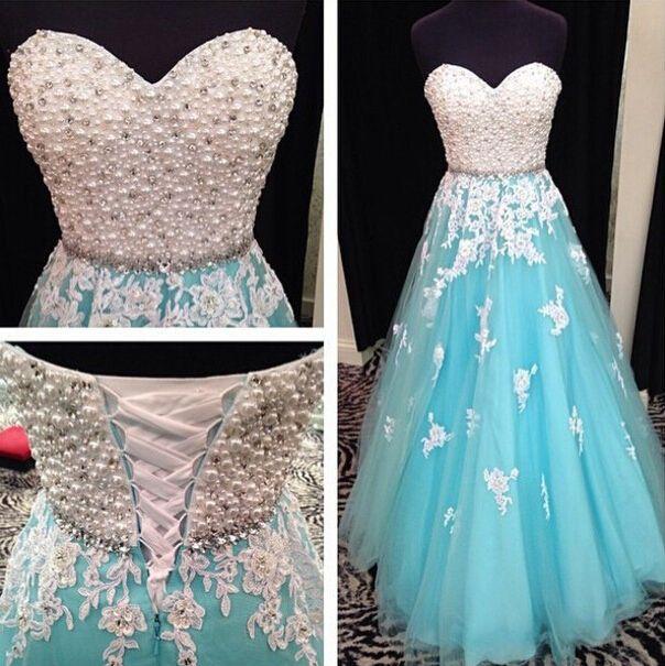 Moda de nova linha de pérolas Tulle azul e branco vestido de noiva tamanho personalizado 2 4 6 8 10 12 14 16 W732 em Vestidos de noiva de Casamentos e Eventos no AliExpress.com | Alibaba Group