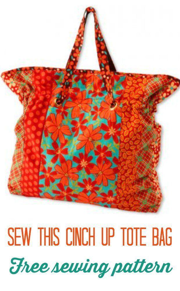 Cinch Up Tote Bag - free pattern | Diy tasche